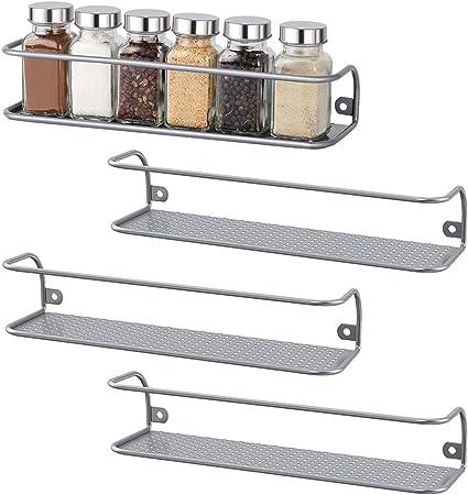 2 Pack NEX Spice Racks Wall Mounted Spice Storage Brown