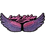 Lady Rider Wings Purple Large Back Patch - 10x4.5 inch. Embroidered Iron on Patch