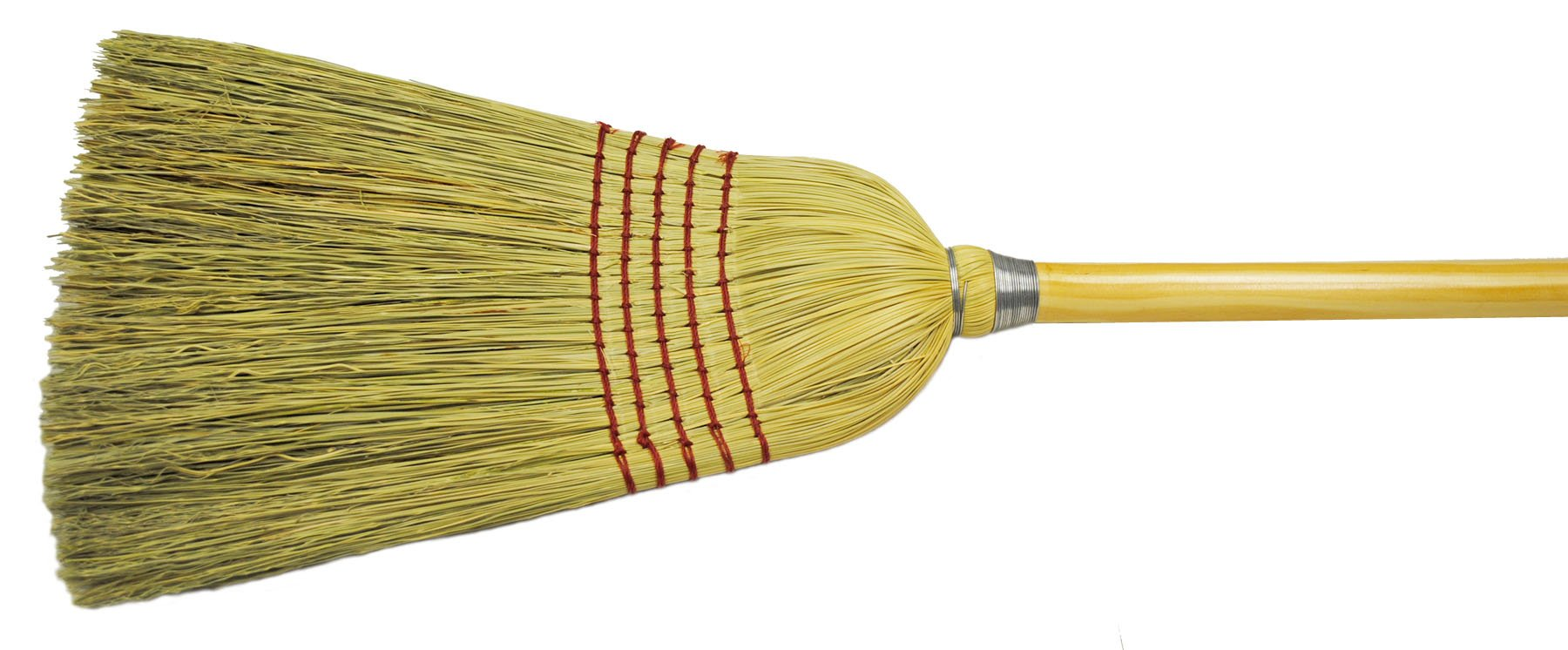 Weiler 70308 Corn Fiber Janitor Upright Broom with Wood Handle, 1-1/2'' Head Width, 57'' Overall Length, Natural