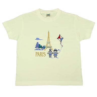 Souvenirs de France - T-Shirt Fille Brodé Paris - Blanc  Amazon.fr ... 4396c31e9e9f