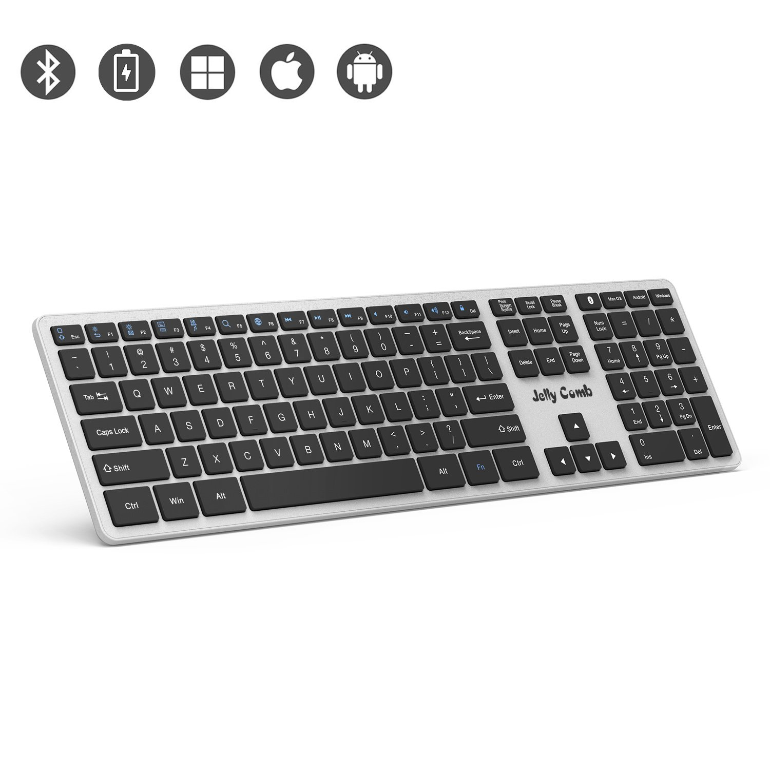 be65df7dbac outlet Bluetooth Keyboard — Jelly Comb K049 Full Size Bluetooth  Rechargeable Keyboard Ultra Slim Universal Design