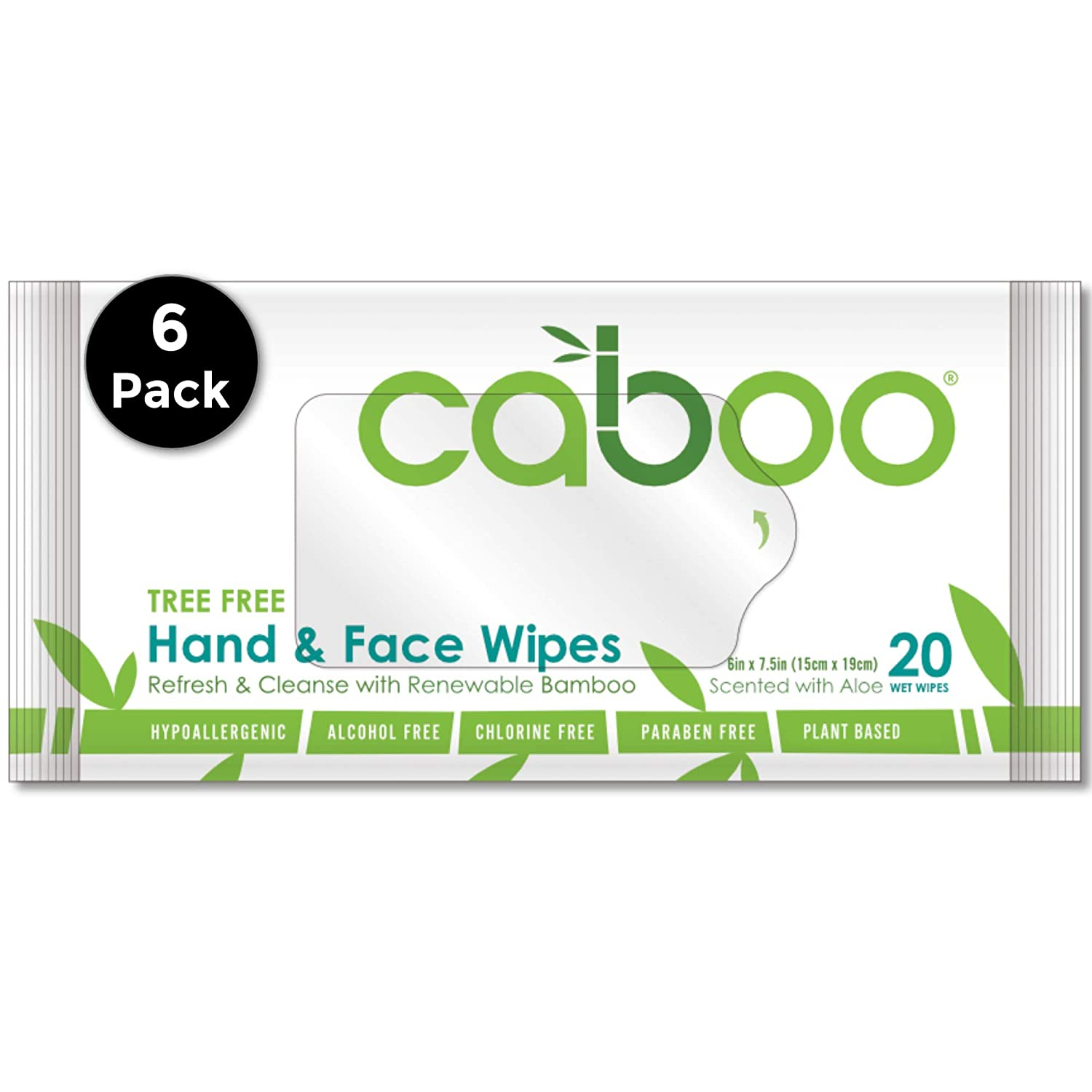 Caboo Tree-Free Bamboo Hand and Face Wipes, Eco-Friendly Wet Wipes for Sensitive Skin, 6 Resealable Travel Packs, 20 Wipes Per Pack, Total of 120 Wipes