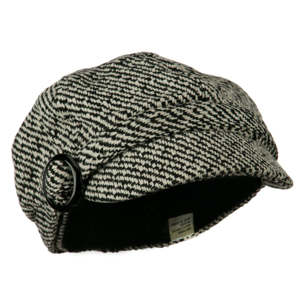 Jeanne Simmons Muffy Patterned Newsboy Cap Black W12S57F