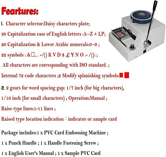 EMBOSSING MACHINE 72-CHARACTER 1//10 INCH CREDIT CARD MANUAL WIDELY TRUSTED