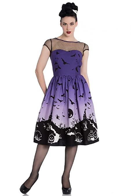 50 Vintage Halloween Costume Ideas Hell Bunny Haunt 50s Dress Halloween Scene Purple $69.00 AT vintagedancer.com