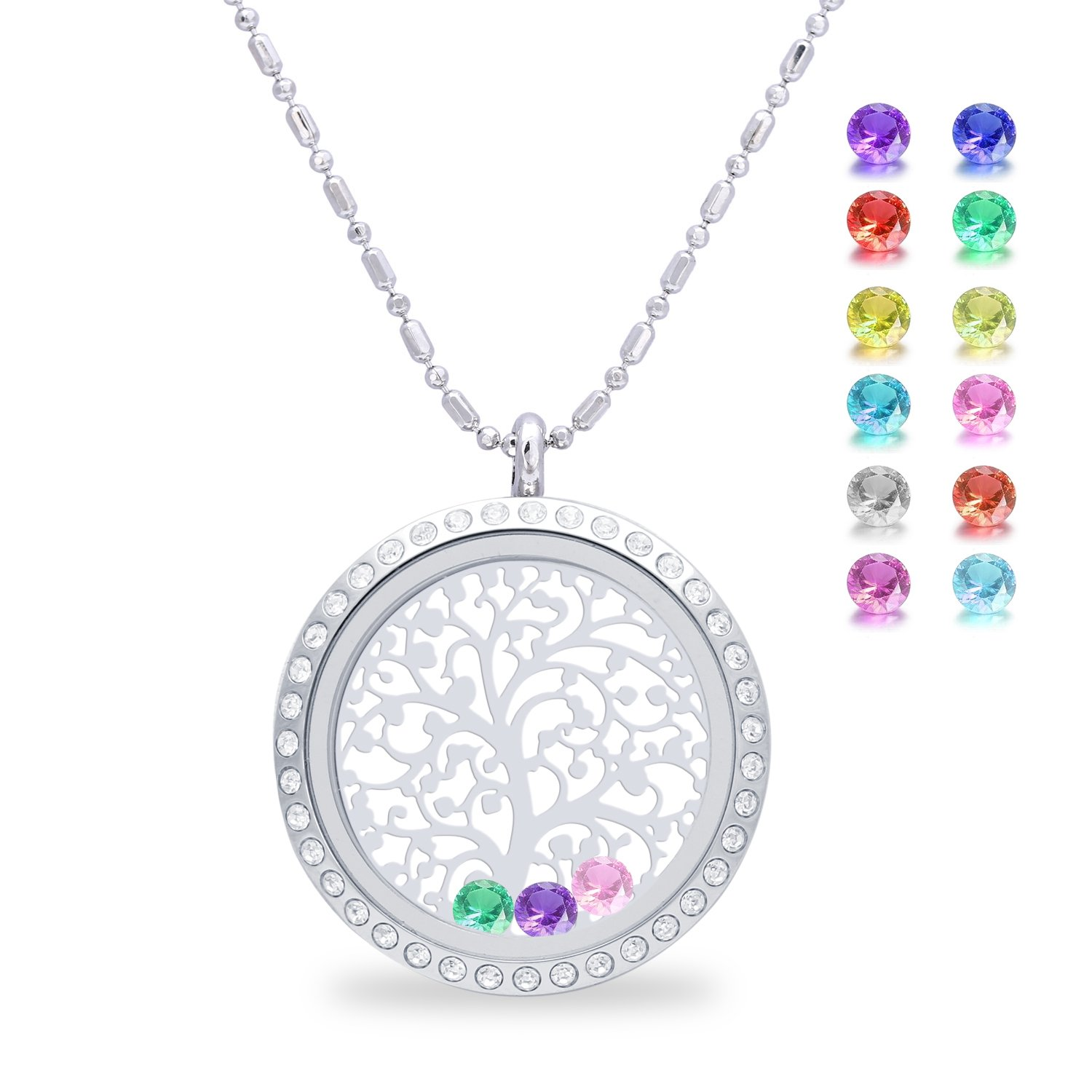 Family Tree of life Screw Floating Charm Living Memory Locket Pendant Necklace, Mothers day gifts from daughter and son, Gifts for wife, lover, birthday, mom, grandma, christmas gifts (Diamond)