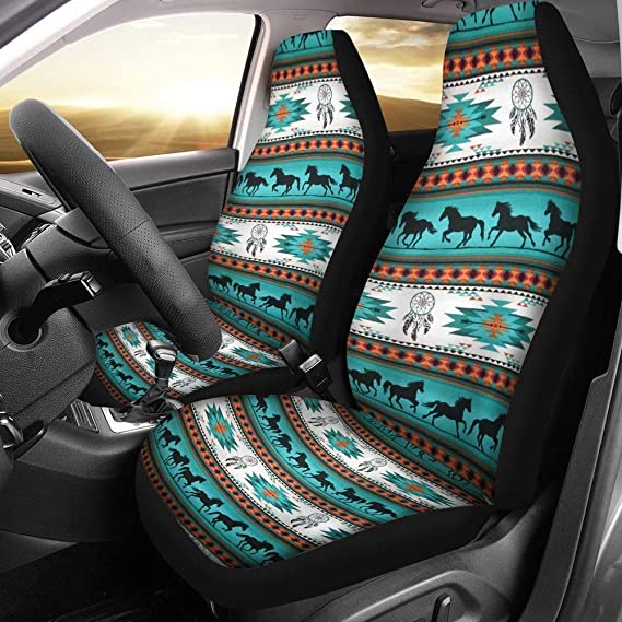 Showudesigns African Ethnic Style Front Bucket Seat Covers Set of 2 Aztec Boho Print Car Seat Covers Universal Fit for Vehicle Sedan and Jeep Auto Interior Protector
