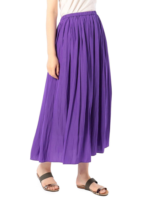 (ノーリーズ) NOLLEY'S 割繊ロング丈ギャザースカート 8-0040-1-06-006 B07DYGL452 36|パープル パープル 36
