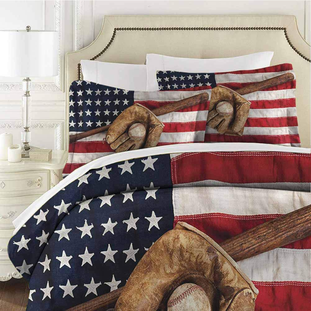 Baseball Comforter Bedding Set Grunge Baseball Full (80x90 inches) - 3 Pieces (1 Duvet Cover + 2 Pillow Shams) - with Zipper Closure Ultra