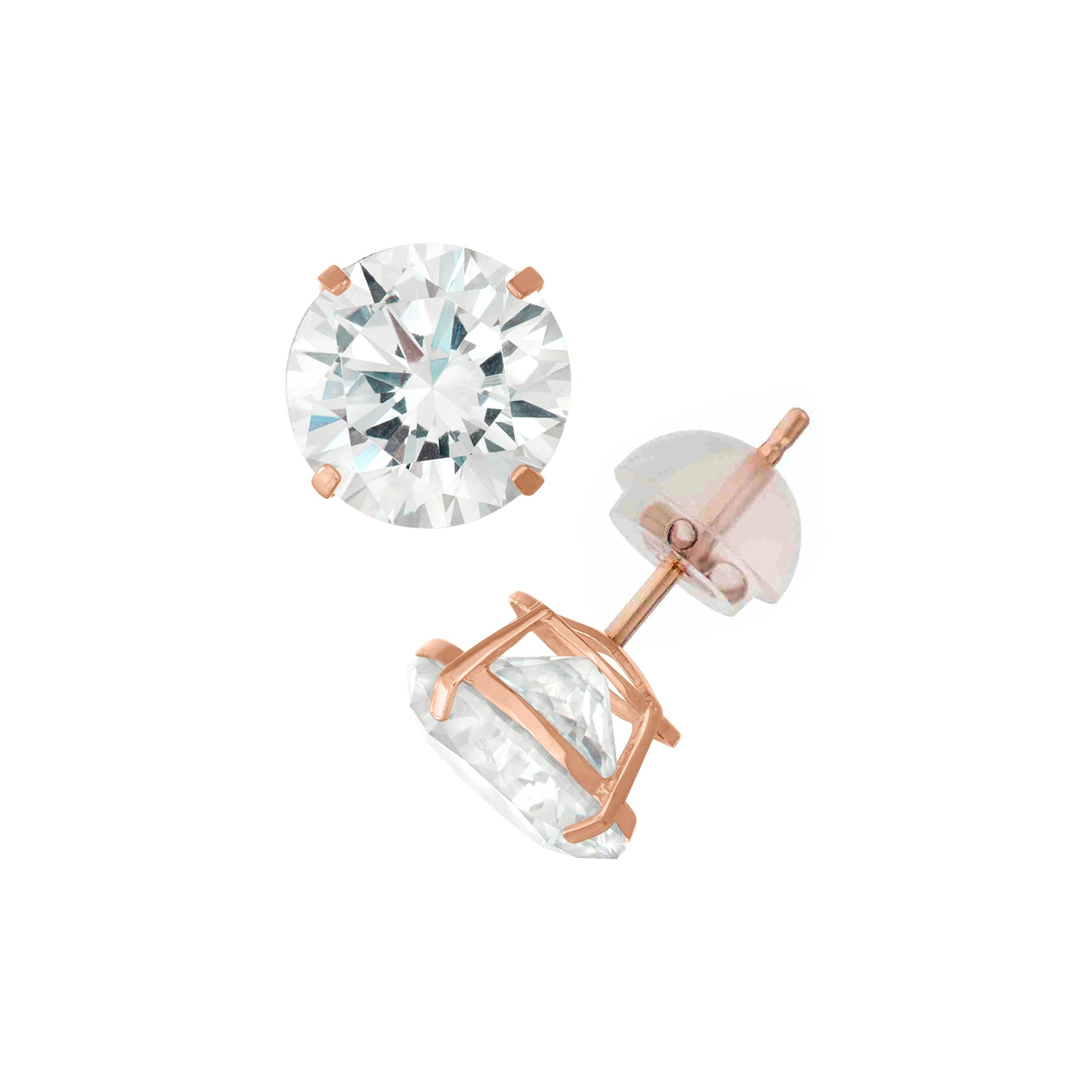 14K Rose Gold Round Swarovski CZ Stud Earring Comfort Fit 2mm