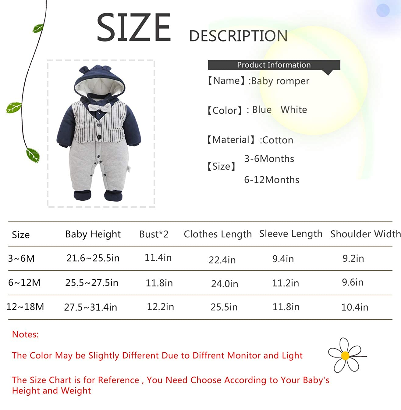 Baby 3PC Thicken Gentleman One Piece Long Sleeve Gentleman Formal Outfit with Hat and Foot