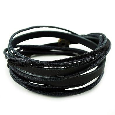 2a47df55ee6 FRD.2Y Furuida Genuine Leather Cuff Wrap Bracelet,Unisex Multilayer Leather  Braided Adjustable Bracelets