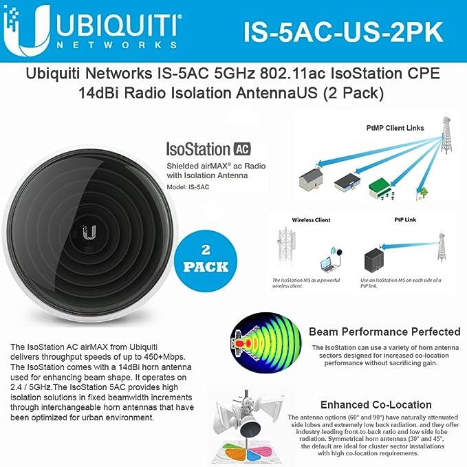 IsoStation IS-5AC-US 5GHz 802.11ac CPE 14dBi Radio blindada Airmax AC con Antena de Aislamiento (Paquete de 2)