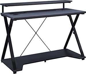 OSP Home Furnishings Checkpoint Ghost Battlestation Gaming Desk with RGB LED Lights, Black
