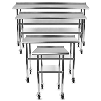 gridmann nsf stainless steel commercial kitchen prep work table w backsplash plus 4 casters - Kitchen Prep Table Stainless Steel