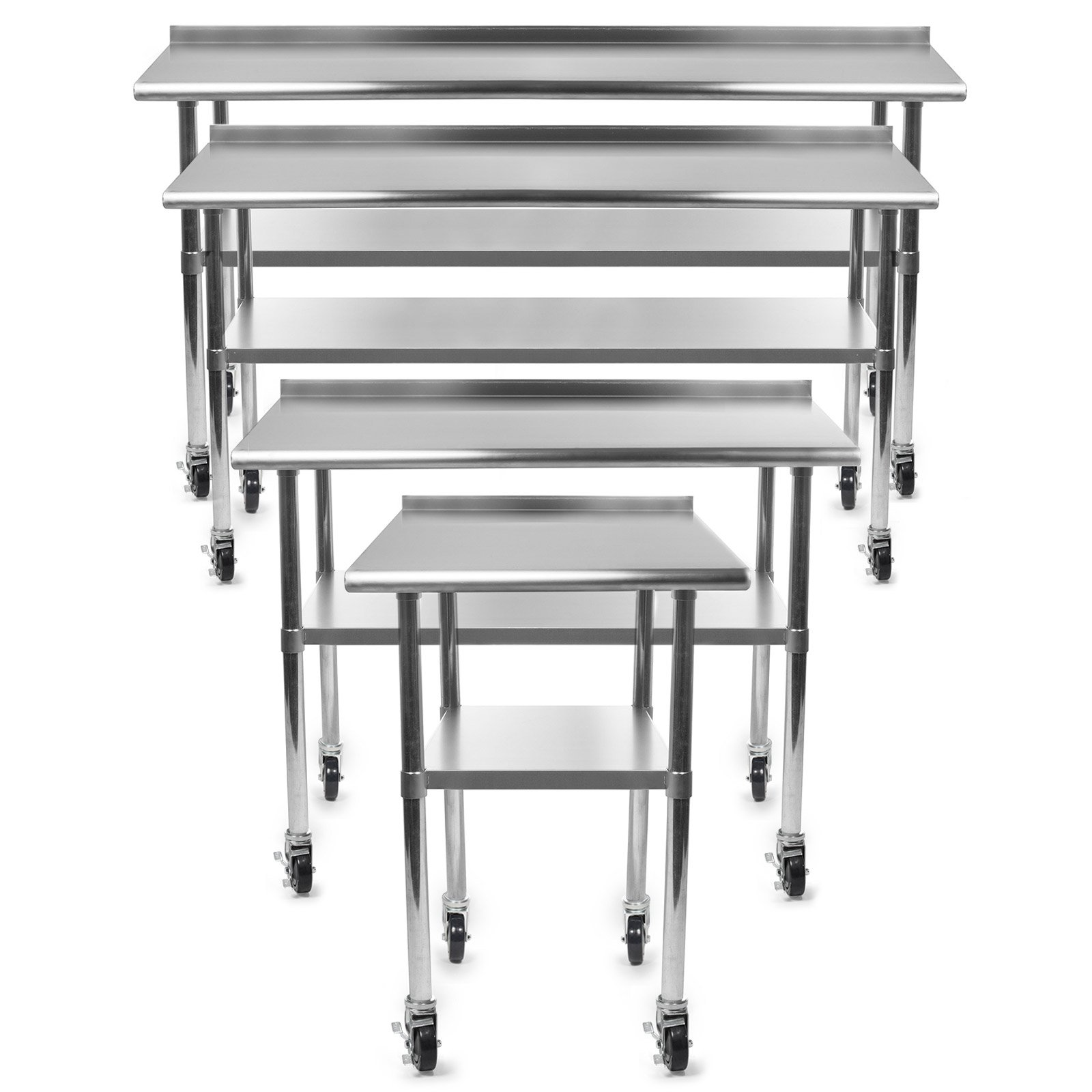 Gridmann NSF Stainless Steel Commercial Kitchen Prep & Work Table w/ Backsplash Plus 4 Casters (Wheels) - 36 in. x 24 in.