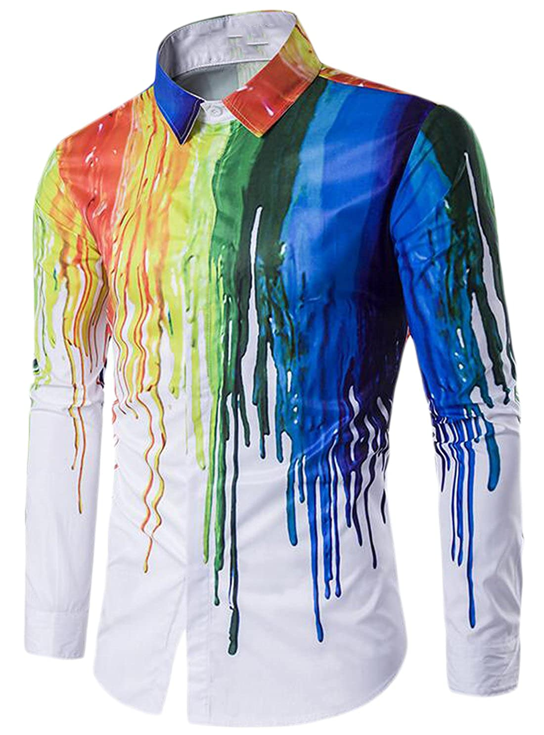 Ptyhk RG Men Fashion Rainbow Wet Paint Long Sleeve Dress Shirt