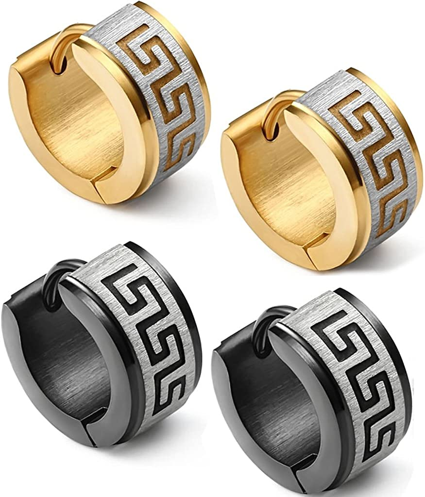 Jstyle Jewelry Stainless Steel Hoop Earrings for Men Women Huggie Earrings Unique Greek Key 2 Pairs a Set