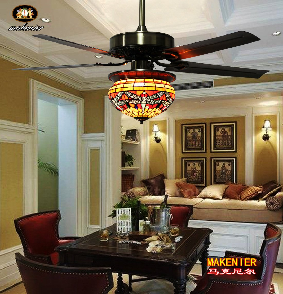 stained warehouse shop bronze fan dome glass in pd single tiffany style ceiling pendant of
