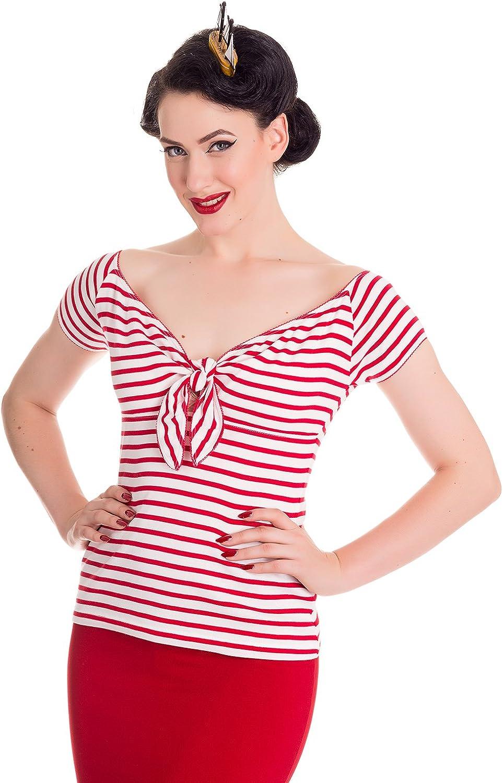 Sailor Dresses, Nautical Theme Dress, WW2 Dresses Hell Bunny Dolly Rockabilly 50s Bardot Blouse Top $30.00 AT vintagedancer.com