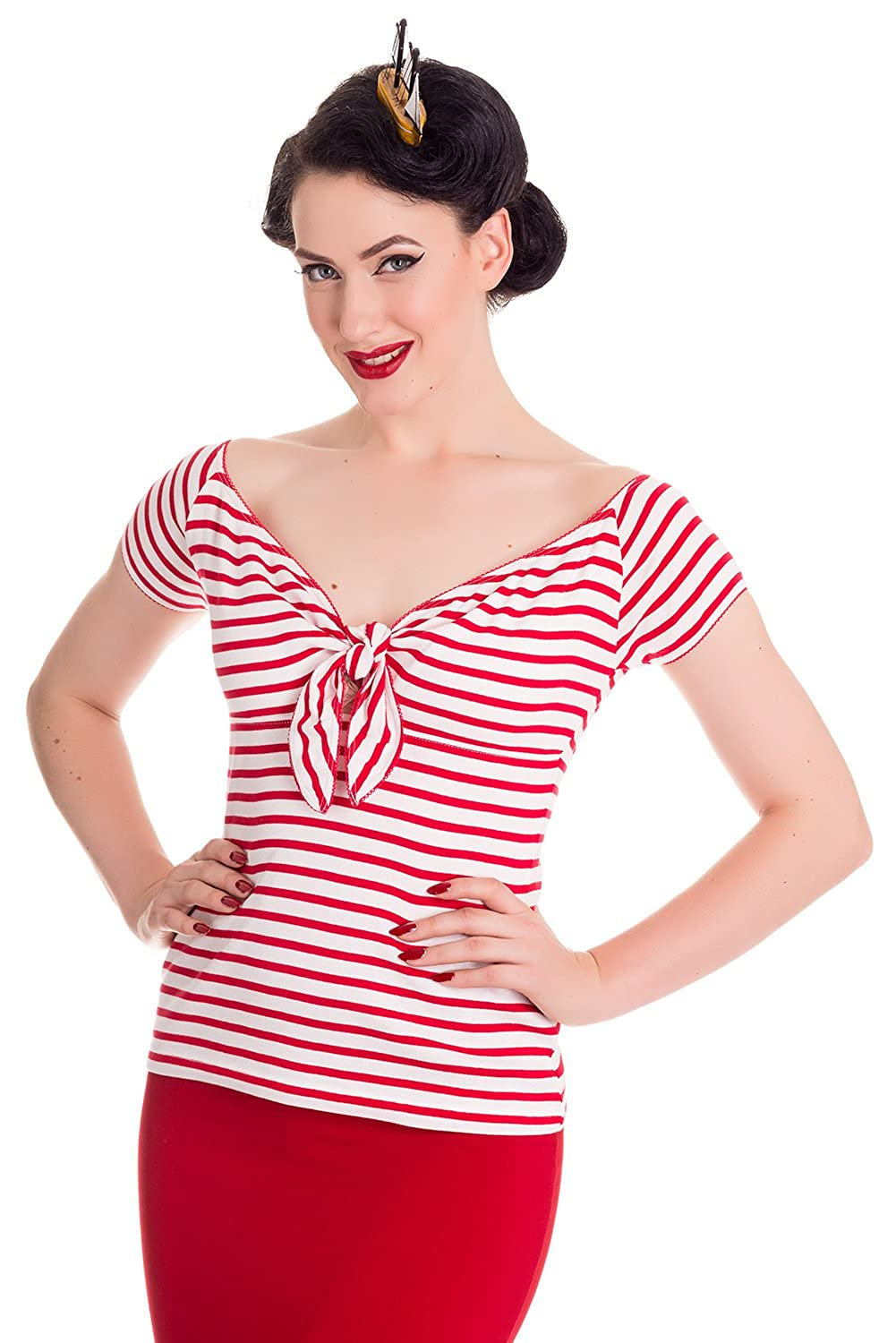 1950s Rockabilly & Pin Up Tops, Blouses, Shirts Hell Bunny Dolly Rockabilly 50s Bardot Blouse Top $29.99 AT vintagedancer.com