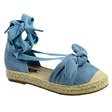 153b1399cc CucuFashion New Womens Ankle Wrap Lace Up Espadrille Flats Ladies Bow Shoes  Size UK 3-8: Amazon.co.uk: Shoes & Bags