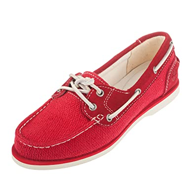 ed3813de26bd Timberland Women s Classic Boat Red Leather and Fabric Shoe 9A14LV ...