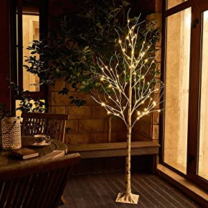 Vanthylit 6FT 88LT Pre-lit Birch Tree with Warm White Christmas Lights for Home Decor