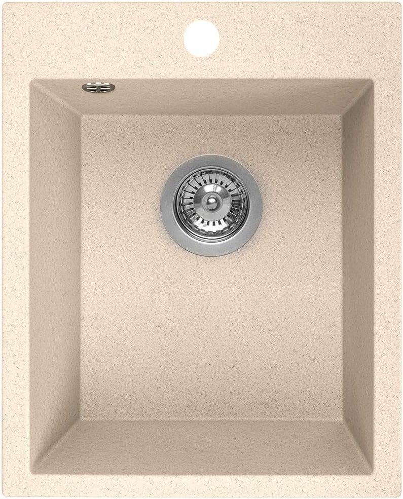 Beige Gesprenkelt 1 Becken K/üchensp/üle aus Granit Manestein Sp/ülbecken Einzelbecken mit Siphon 48 x 39 cm Einbausp/üle