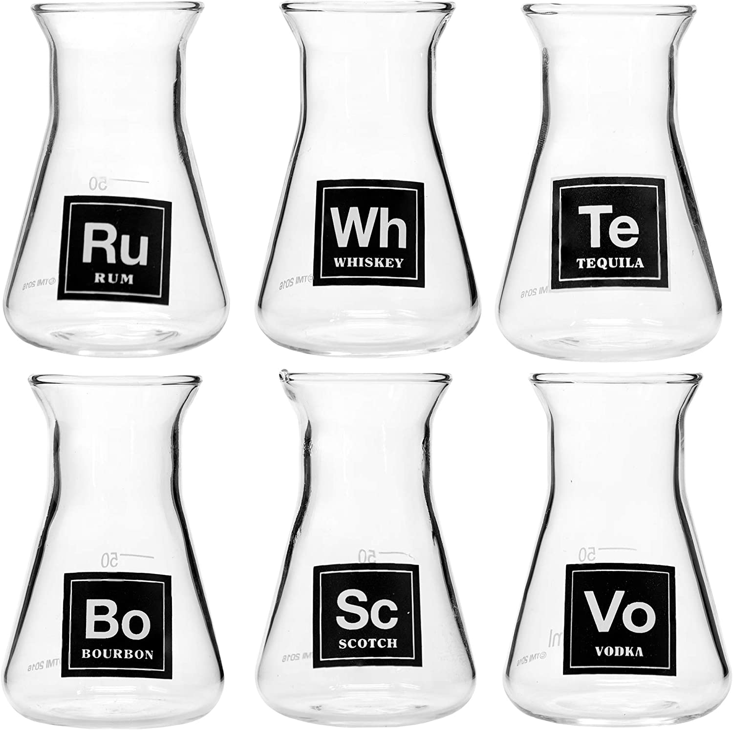 Amazon Com Drink Periodically Set Of 6 Laboratory Erlenmeyer Flask Shot Glasses Clear Glass 2 75oz Each Shot Glasses