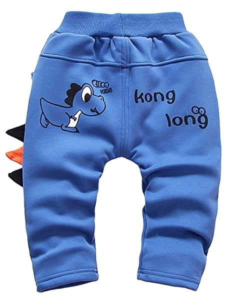 ARAUS Baby Boy Fleece Lined Trousers Infant Cartoon Dinosaur Thicken Pants Bottoms 0-3 Years