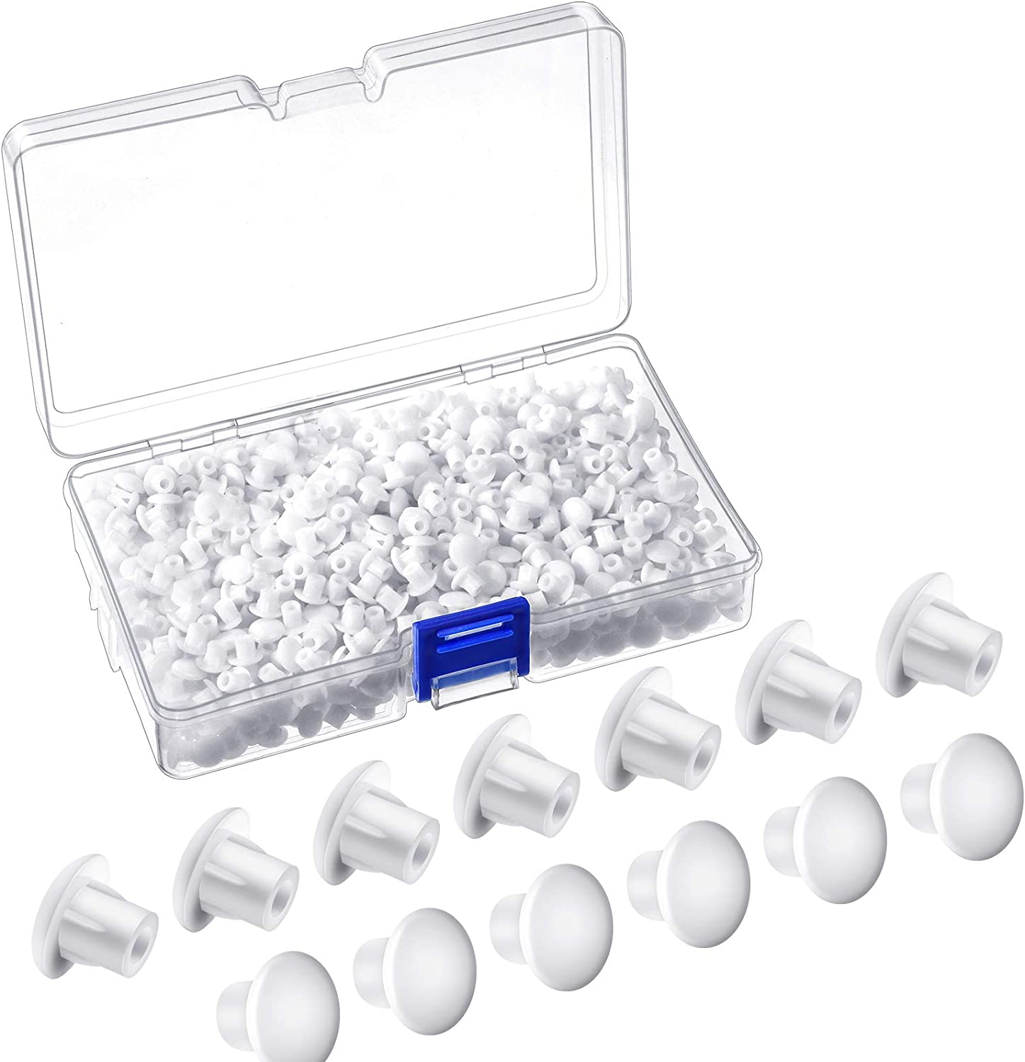 500 Pieces 5 Millimetres Plastic Hole Plugs 3/16 Inches Round Button Plugs Screw Cap White Drilling Cover Plugs for Cabinet Cupboard Shelves