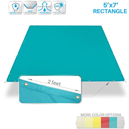 Patio Paradise 5 x7 Waterproof Sun Shade Sail Canopy, Turquoise Green Rectangle Straight Side Grommet Pergola Cover Windscreen Tarp UV Block Fabric for Outdoor Deck – Customize Available