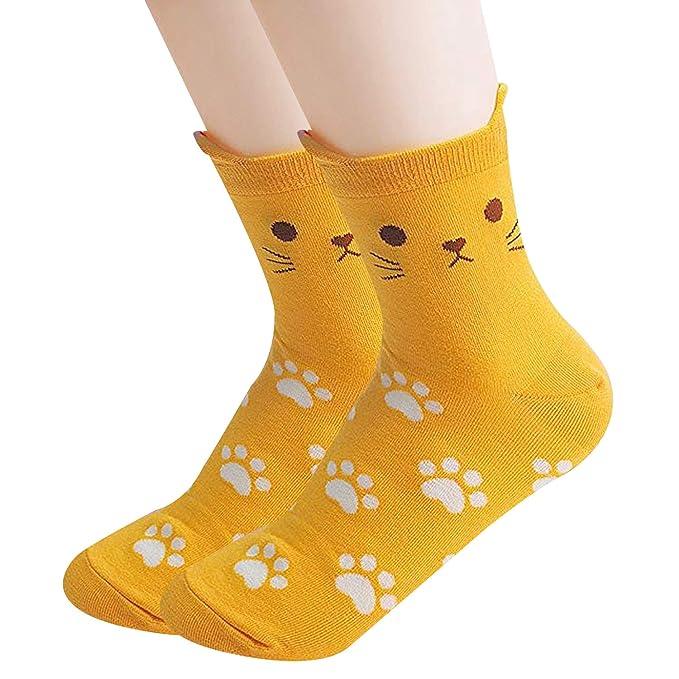 Ksocks - Calcetines para mujer, estilo casual, diseño de animales, talla única 2 Paw Yellow Talla única: Amazon.es: Ropa y accesorios