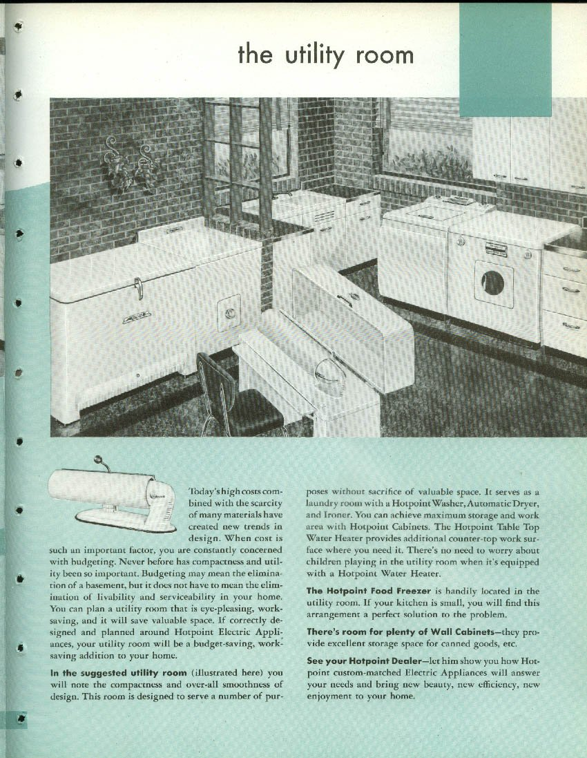 Hotpoint All Electric Kitchen Laundry Work Saving Centers brochure ...