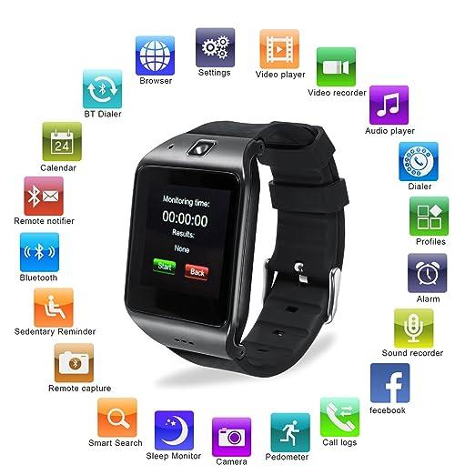 Reloj Inteligente, [Regalo] HAMSWAN Smartwatch Bluetooth para Andriod/IOS con Cámara Batería 550mAh Facebook Whatsapp Twitter Cronómetro Pódometro ...
