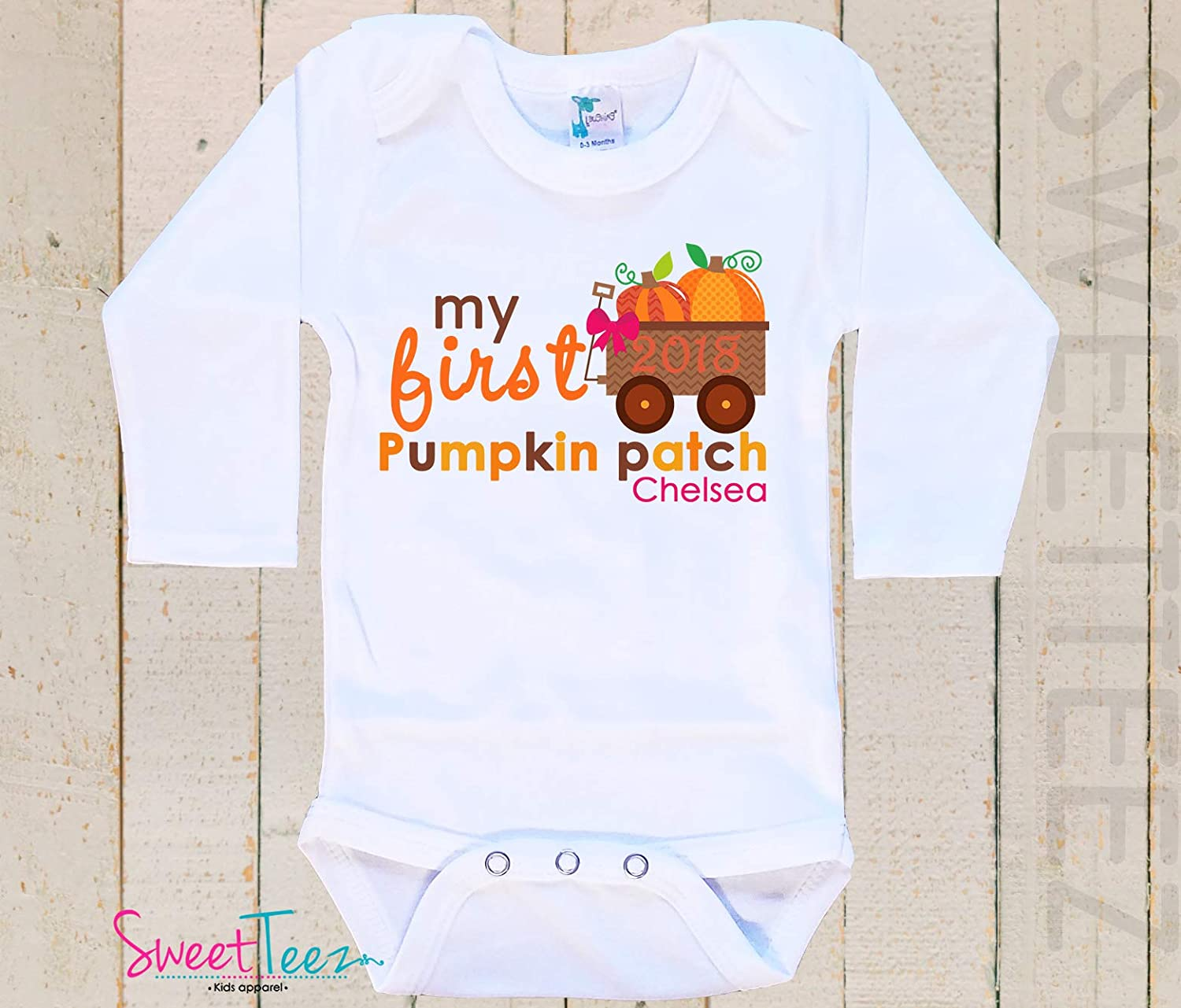 Personalized First Pumpkin Patch Shirt, Pumpkin Patch Baby Bodysuit, My First Pumpkin Patch Outfit Baby Girl Gift