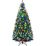 Goplus 7FT Pre-Lit Artificial Christmas Tree Auto-Spread/Close up Branches 11 Flash Modes with Multicolored LED Lights…