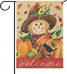 Scarecrow Harvest Pumpkin Garden Flag 12 x 18 Double Sided Welcome Fall Autumn Thanksgiving Primitive House Yard Flags Outdoor Indoor Maple Leaves Bird Sunflowers Banner Farmhouse Country Decor
