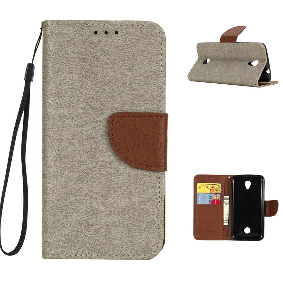 For Acer Liquid Zest Case, Luffytops Shock Absorption PU Leather Wallet with Stand and Card [Wrist Strap] Case for Acer Liquid Zest Z525 T06 (5.0') (Gray)
