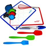 Misc Home 11-Pieces BPA-Free Silicone Baking Set with 2 Large Mats, Spatula, Brush, Whisk, 4 Collapsible Measuring Cups, Stainless Steel Tongs and Silicone Tips
