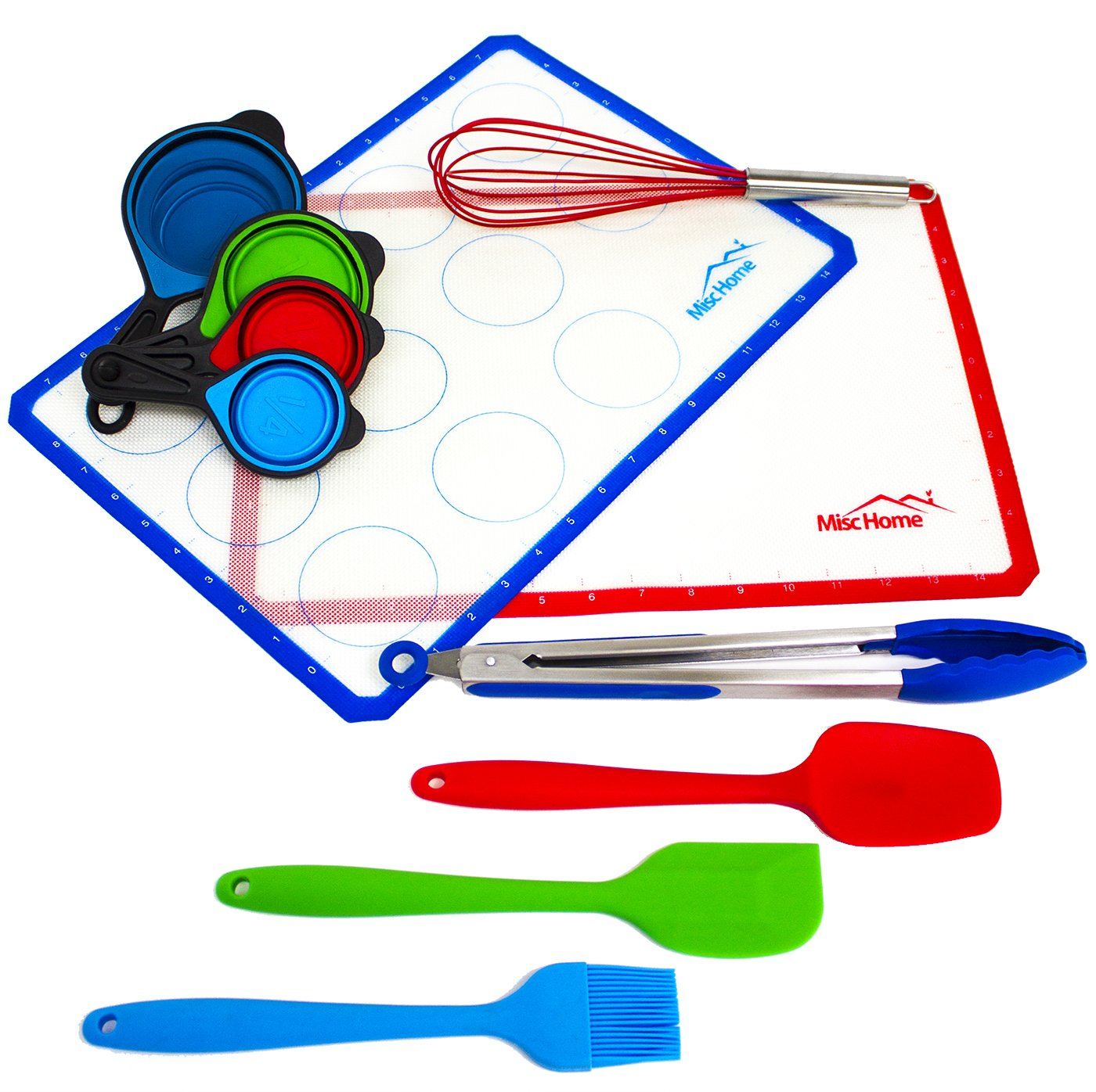 [11 Piece Set] Silicone Baking Mat Set with 2 Large Baking Sheets, Spatula, Brush, Whisk Measuring Cups, and Tongs All BPA-Free