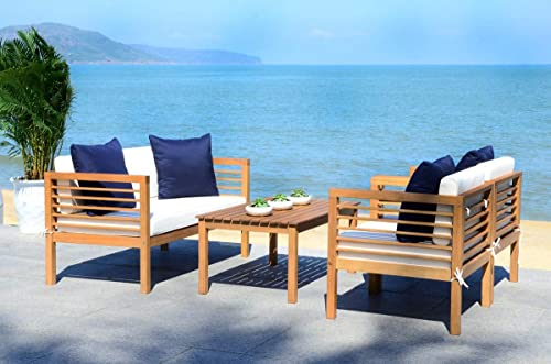 Safavieh PAT7033A Collection Alda Teak and White 4 Pc Accent Pillows Outdoor Set