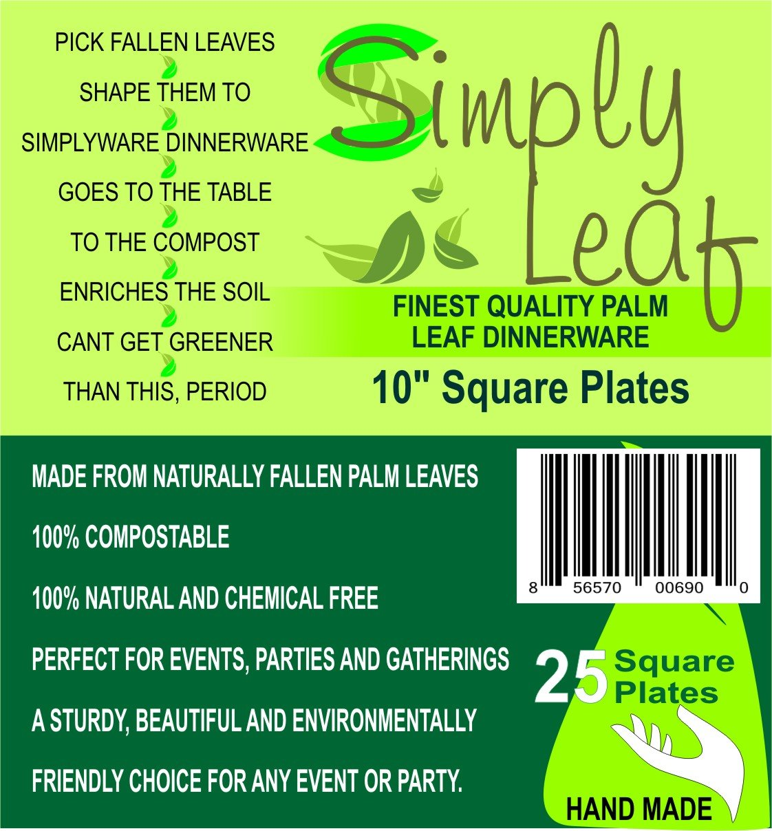 """Simply Leaf Square Disposable Dinner Plates (Large 10"""") Natural, Ecofriendly, Biodegradable   100% Compostable Palm Leaves   Artisanal Style for Home, Events"""