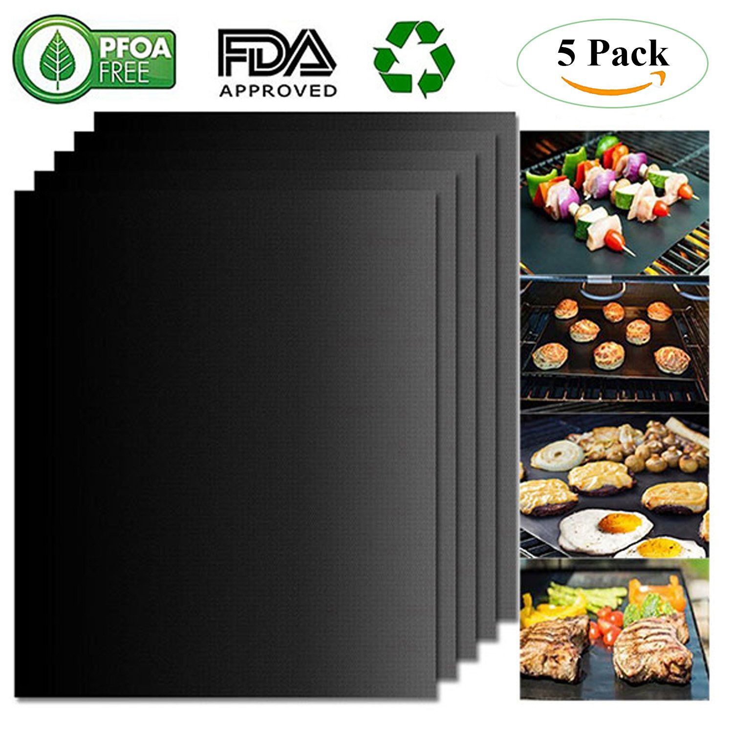 Belle Dura BBQ Grill Mats 100 Non Stick Set of 5 Barbecue Mats, FDA-Approved, PFOA Free, Heat Resistant Reusable Durable Baking Mats for Oven Gas Charcoal Electric Grill