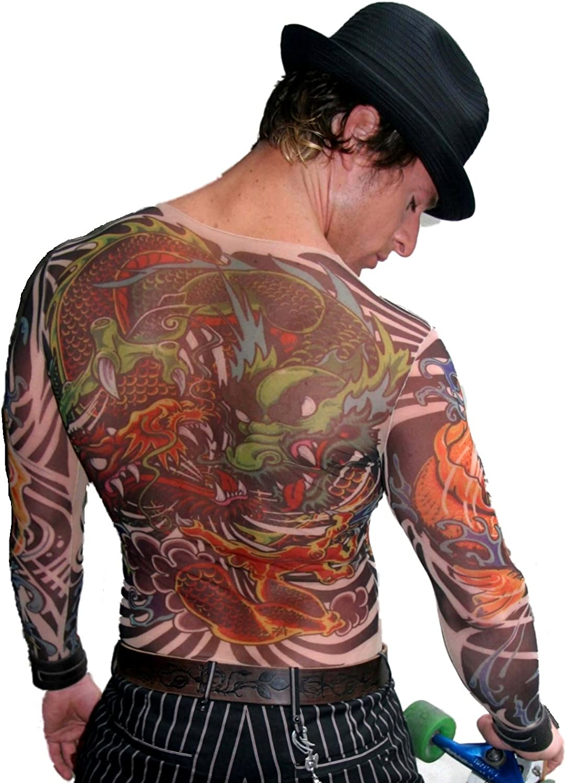 Wild Rose Men S Dragon Tattoo Mesh Shirt