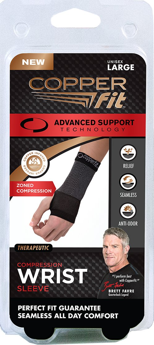 7ce7ac0d97 Amazon.com: Copper Fit Unisex Advanced Support Wrist Sleeve, Medium: Health  & Personal Care