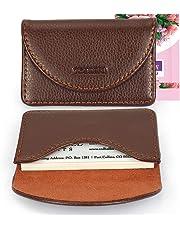 Yobansa Porta biglietti da visita, in pelle ecologica in poliuretano, per carte di credito, biglietti da visita, con chiusura magnetica, per uomini e donne Coffee