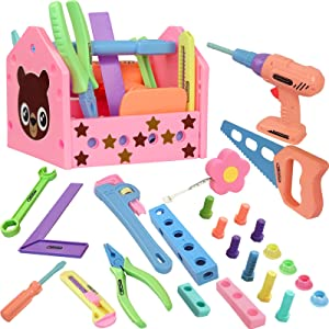 Gifts2U Toy Tool Set for Girls Pretend Play Toy with Play Drill Tool Box and Toy Tape Measure, Pink Toy Tool Set Learning Tool Kit for Girls Toddlers Boys Age 3 4 5 6 Home Stem DIY Gifts