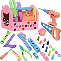 Gifts2U Toy Tool Set for Girls Pretend Play Toy with Play Drill Tool Box and Toy Tape Measure, Pink Toy Tool Set…